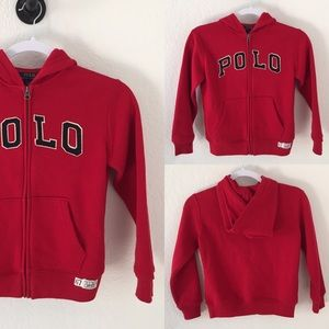 New polo red hoodie sweater